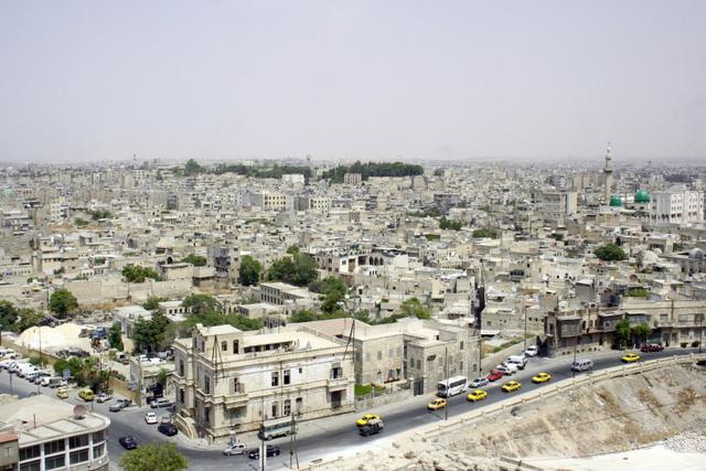 Widok miasta Aleppo w Syrii z lotu ptaka