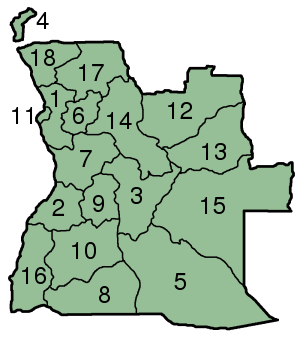 Map of Angola with provinces numbered.