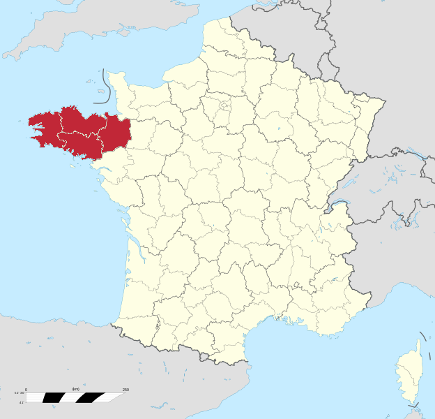 Map of France highlighting the Region of Brittany