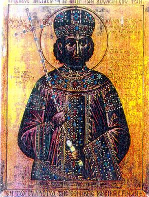 Modern icon depicting Constantine XI Palaiologos, last emperor of the Roman (Byzantine) empire ConstantinoXI.jpg