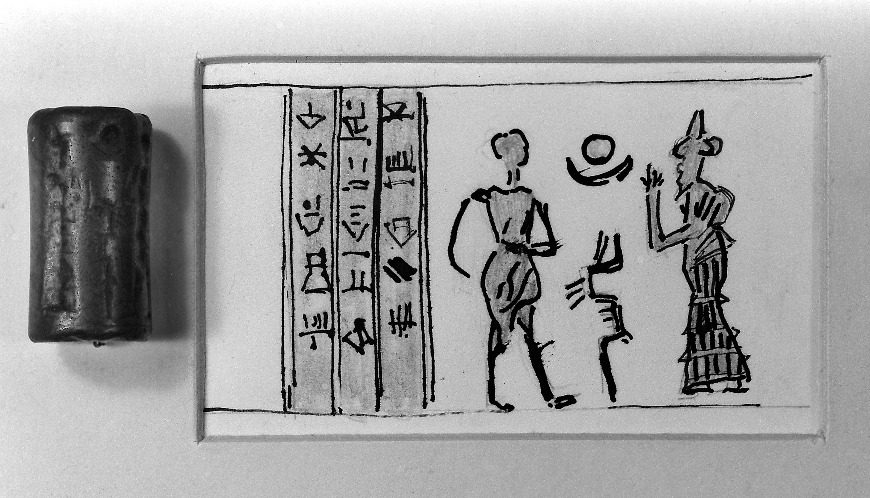 file cylinder seal and sketch depicting nergal god of plague  file cylinder seal and sketch depicting nergal god of plague wellcome m0014665