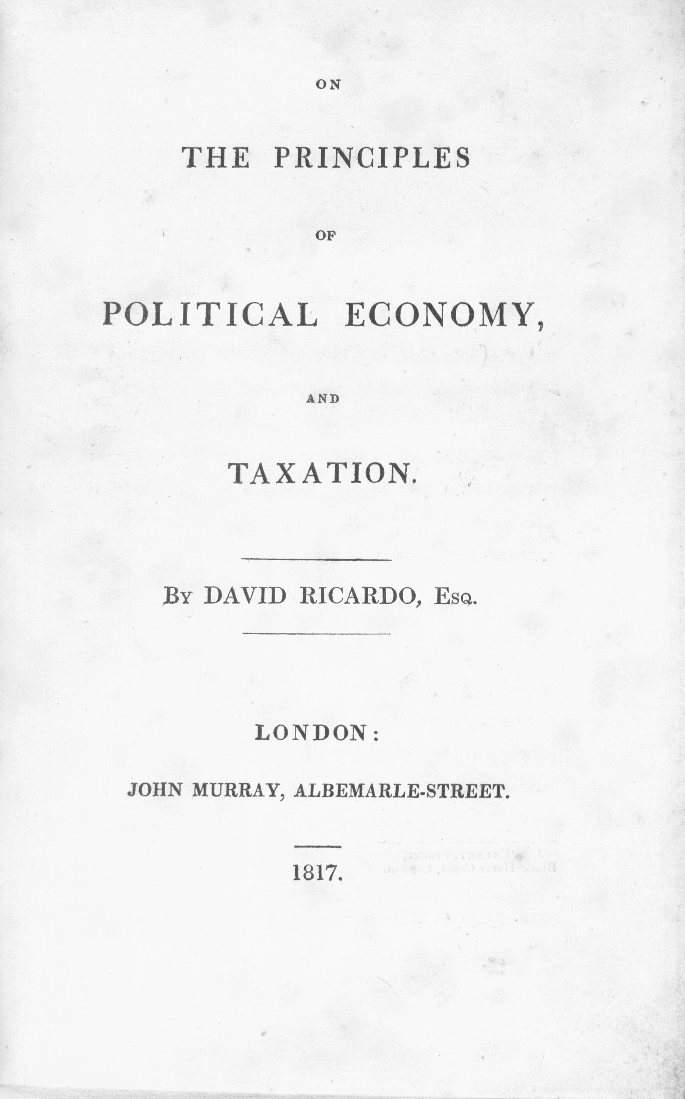 On the Principles of Political Economy and Taxation - Wikipedia