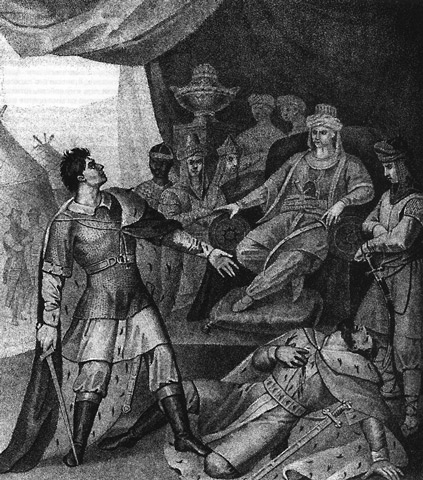 Dmitri avenging the death of his father in the ordo (palace) of Uzbeg Khan, killing Yury. Dmitri revenge the death of his father.jpg
