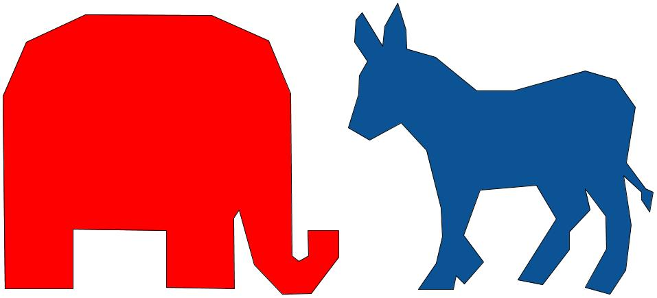 Donkey and elephant - democrat blue and republican red - polygon rough.jpg