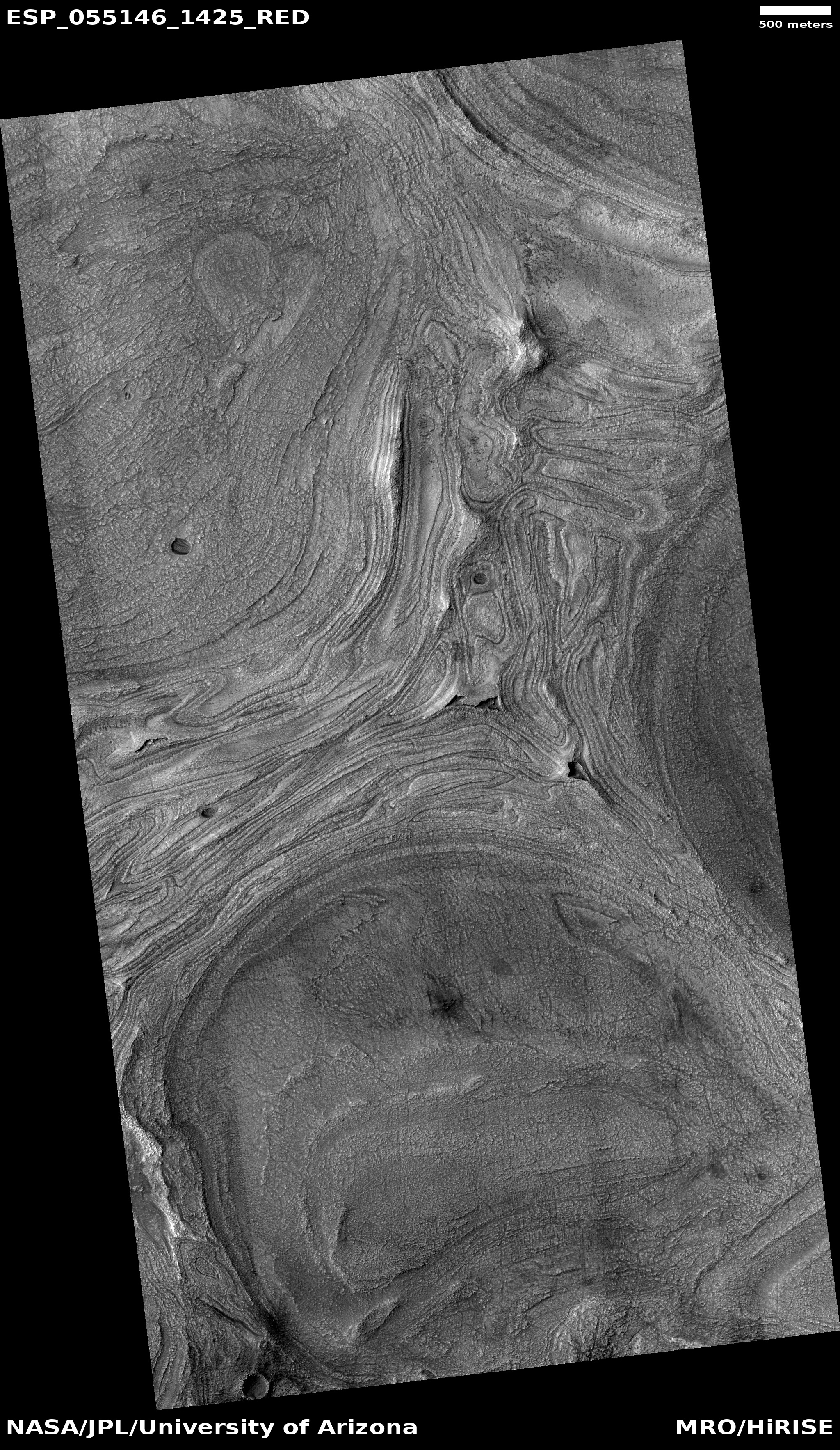 Wide view of twisted bands on the floor of Hellas Planitia, as seen by HiRISE under HiWish program