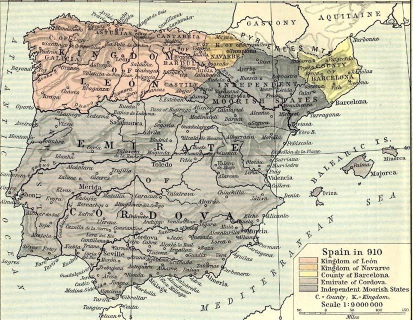Mapa de la Península Iberica en el año 910