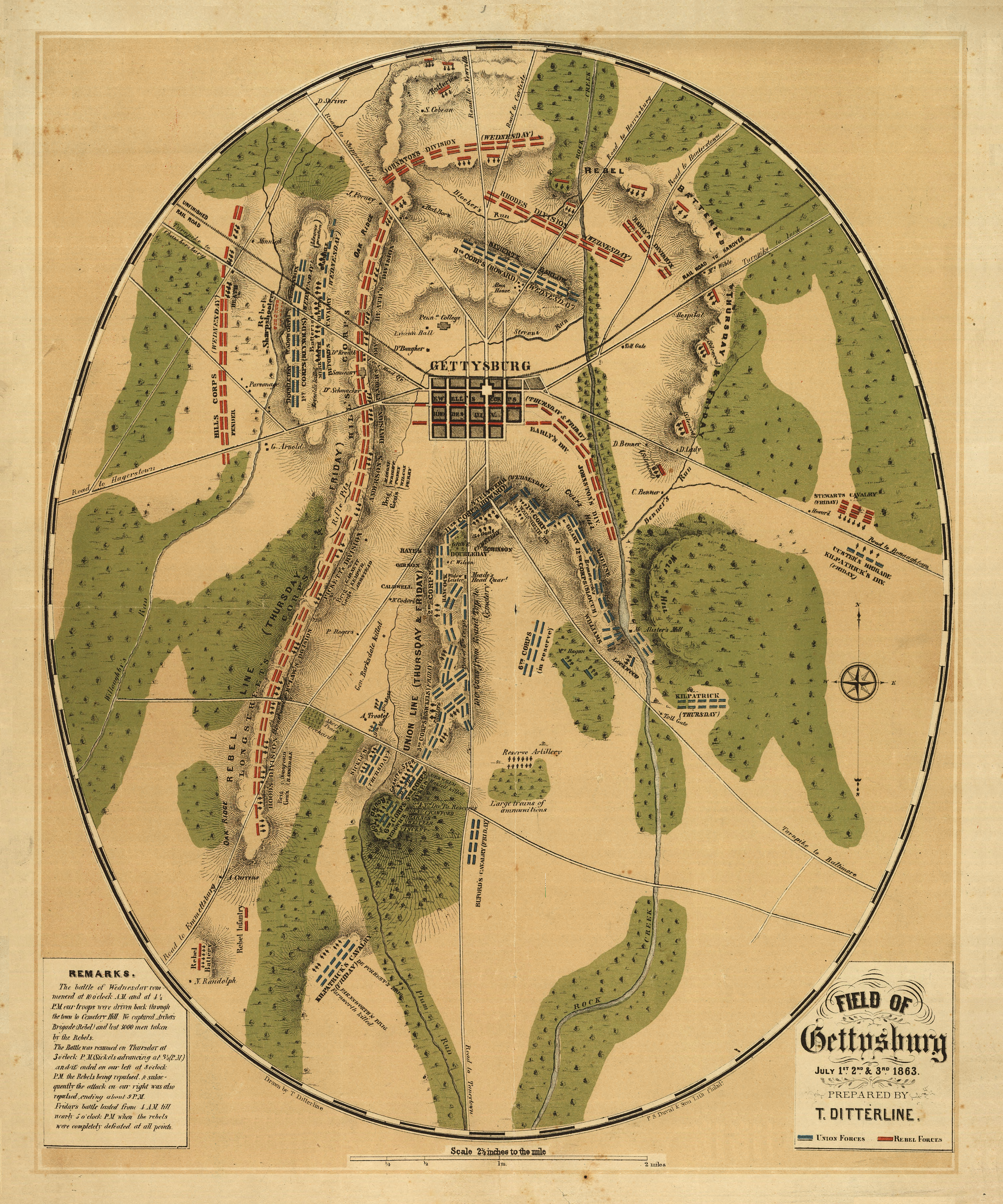 A map of the battlefield of Gettysburg