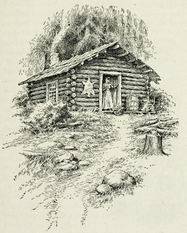Sketch of a log cabin up on a hill