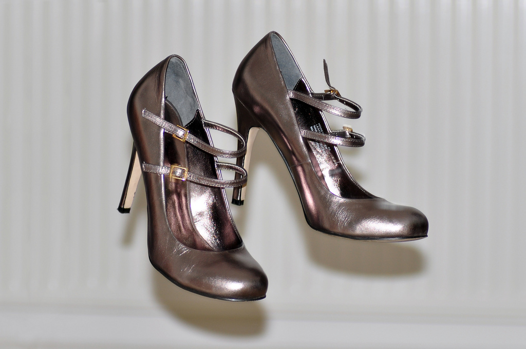 Pewter Shoes With A Burgundy Flapper Dress