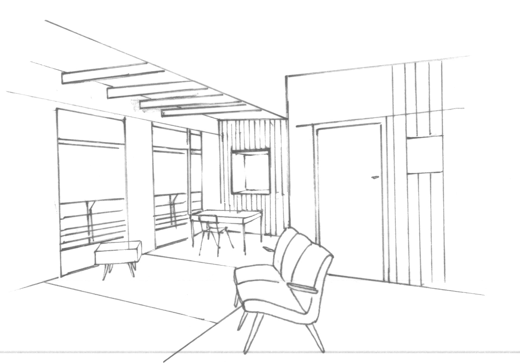 Architectural Interior Line Drawing Sketch Coloring Page