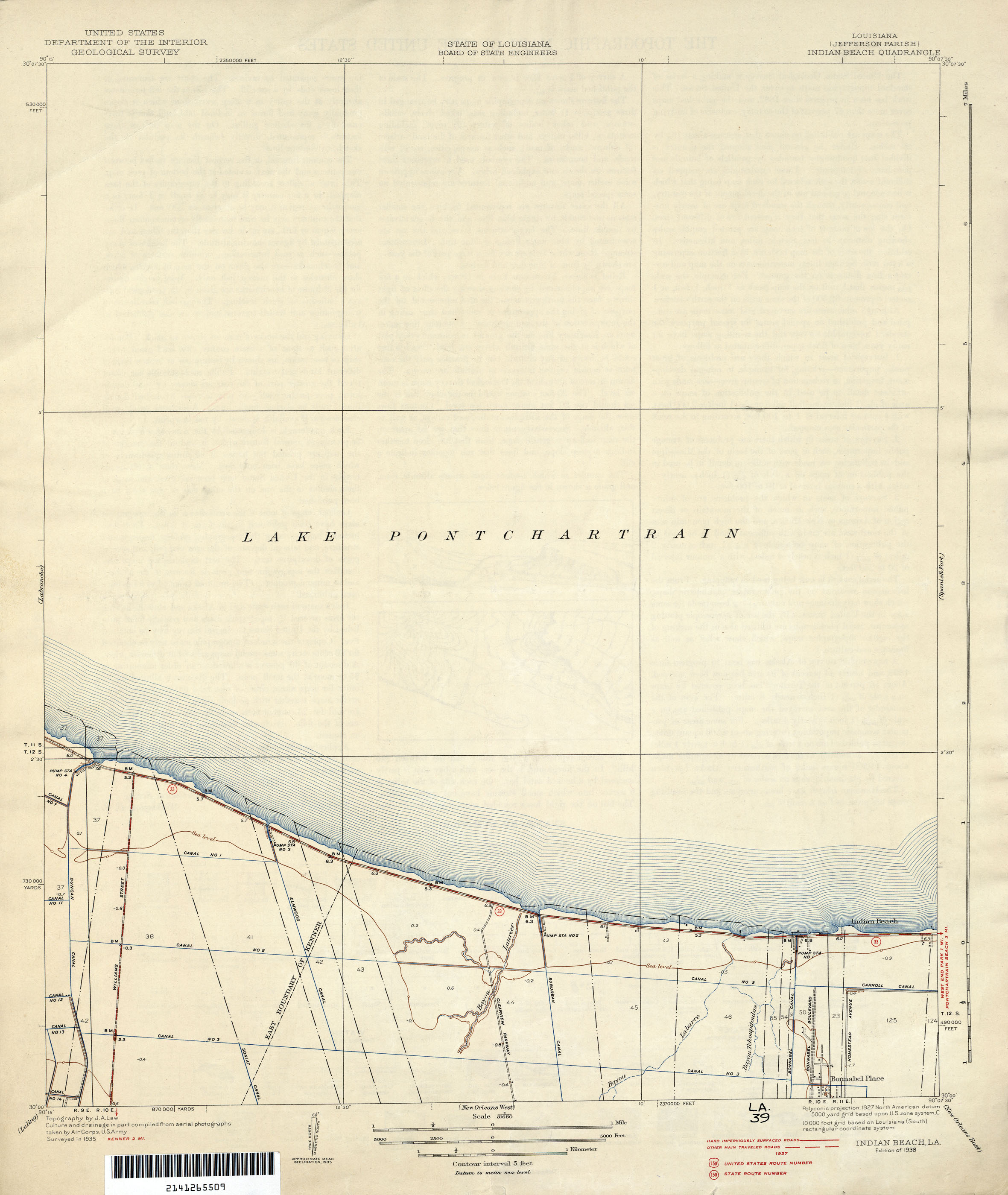 FileJefferson Parish Louisiana Map Lake Pontchartrain Shore Indian