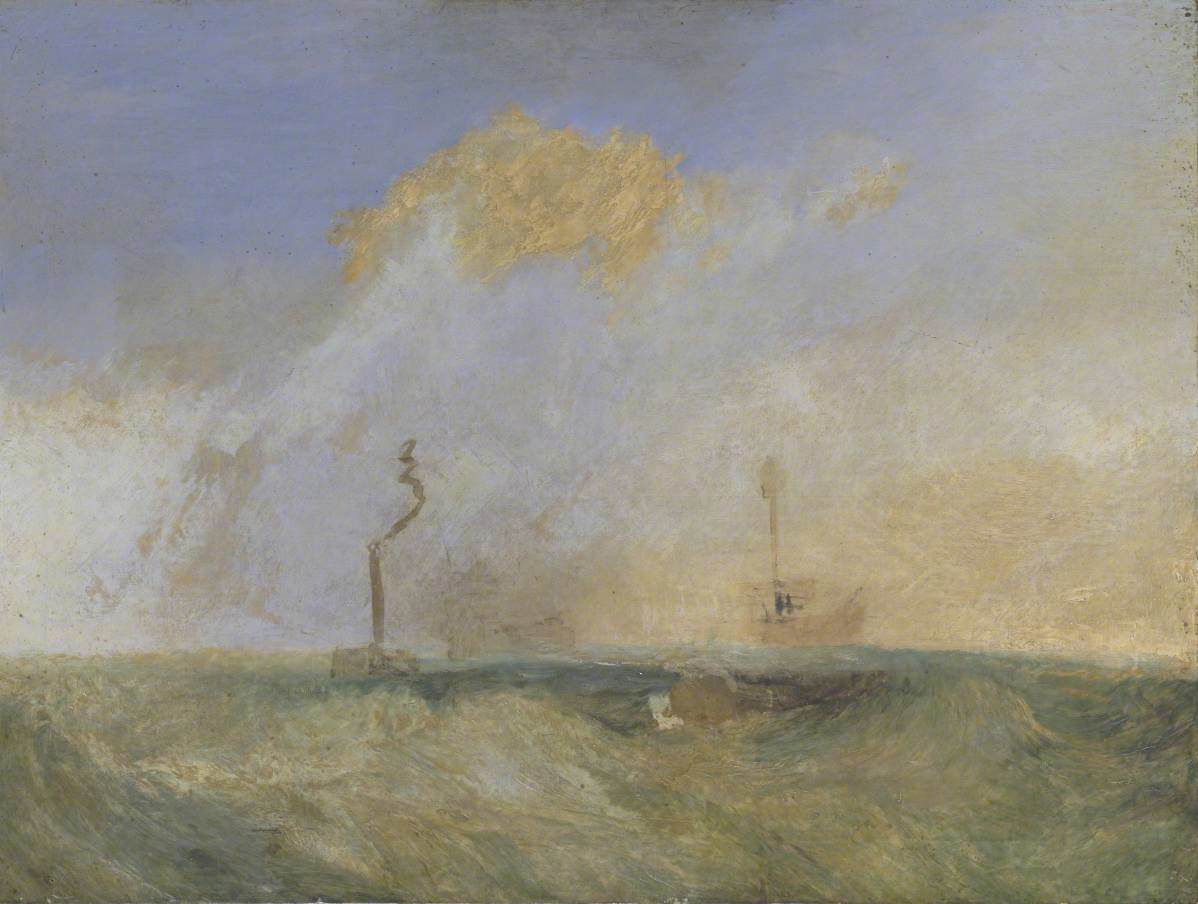 English described at URL: https://artuk.org/discover/artworks/steamer-and-lightship-a-study-for-the-fighting-temeraire-202450 operator: Art UK