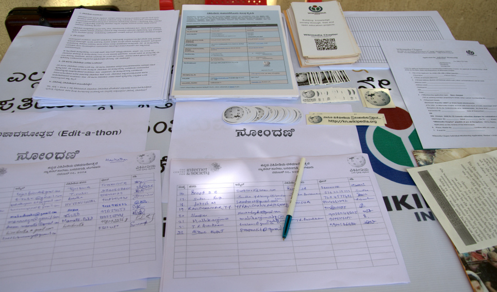Registration desk at the tenth anniversary of the Kannada Wikipedia