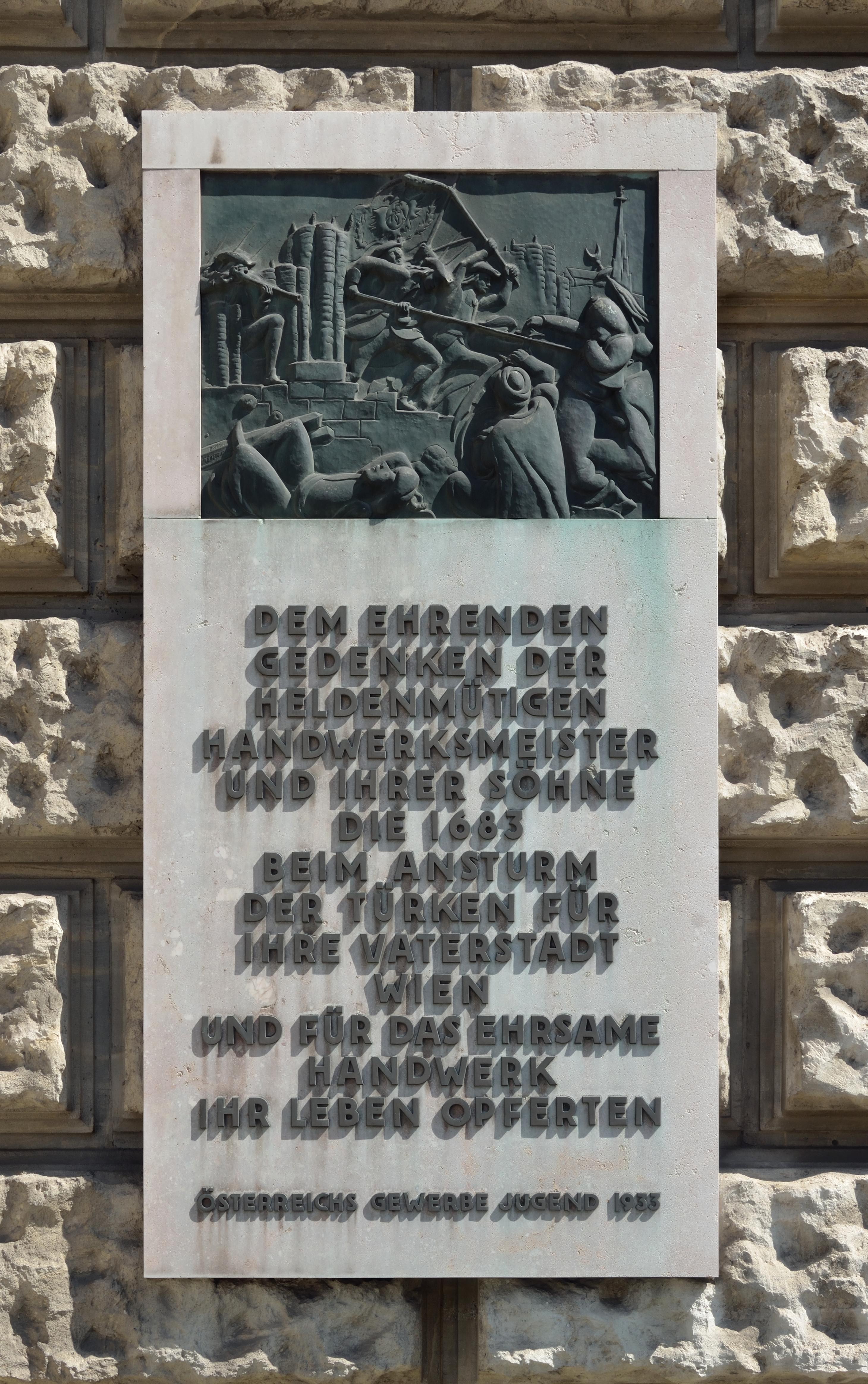 Löwelstraße 20, Battle of Vienna Plaque Vienna March 2013.jpg