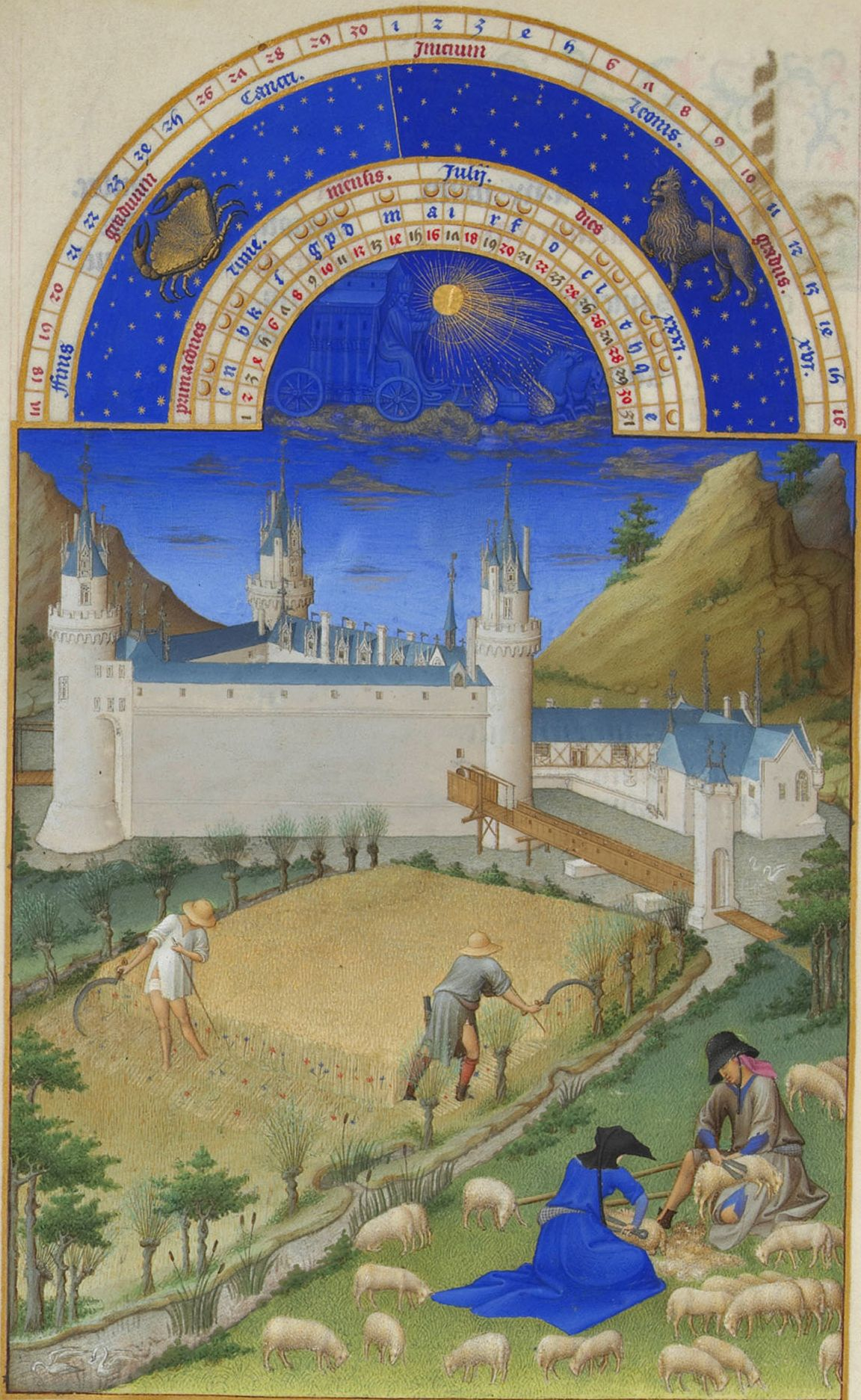 """Limbourg Brothers, """"The Book of Hours."""" The harvest and shearing sheep."""
