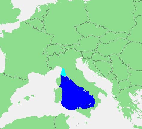 Locatie Tyrreense Zee