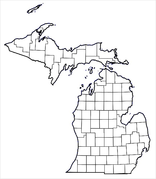 FileMichiganBlankCountiespng Wikimedia Commons - Michigan map of counties