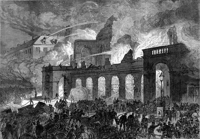 La Opéra, pasto de las llamas, el 29 de octubre de 1873.