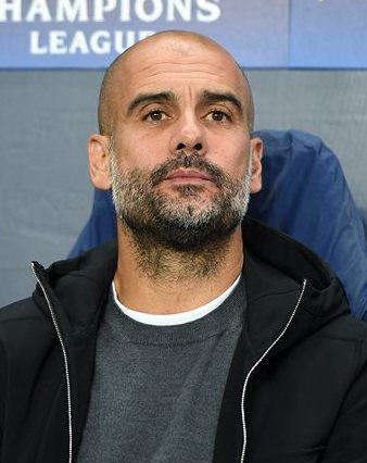Guardiola with [[Manchester City F.C.|Manchester City]] in 2017