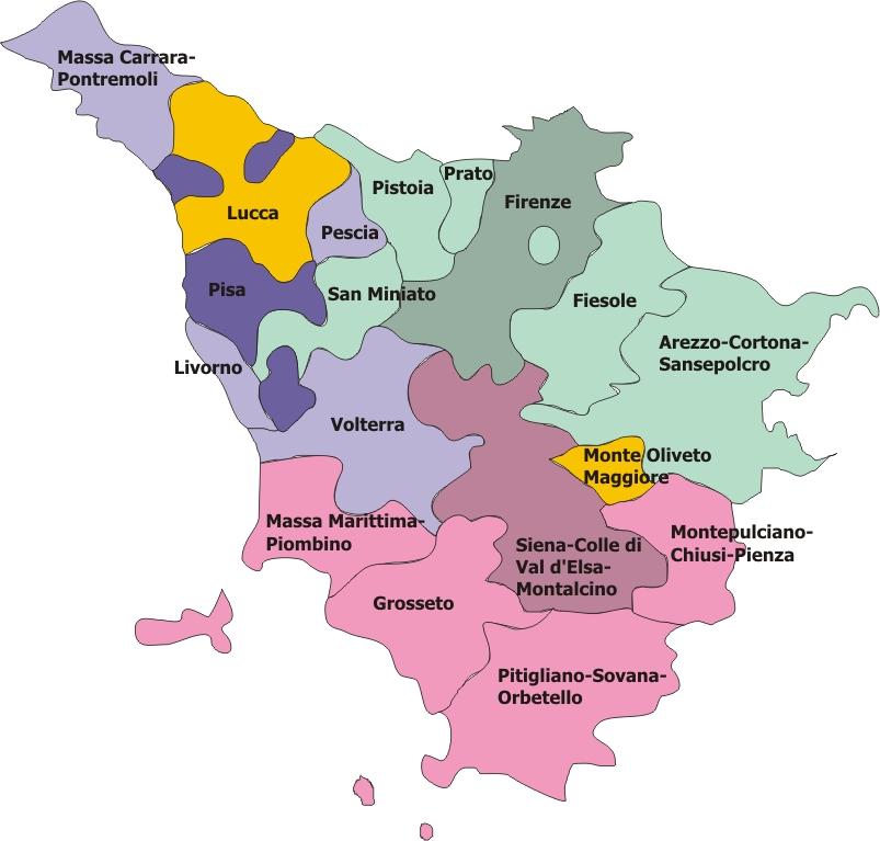 Province Della Toscana Cartina.Regione Ecclesiastica Toscana Wikipedia