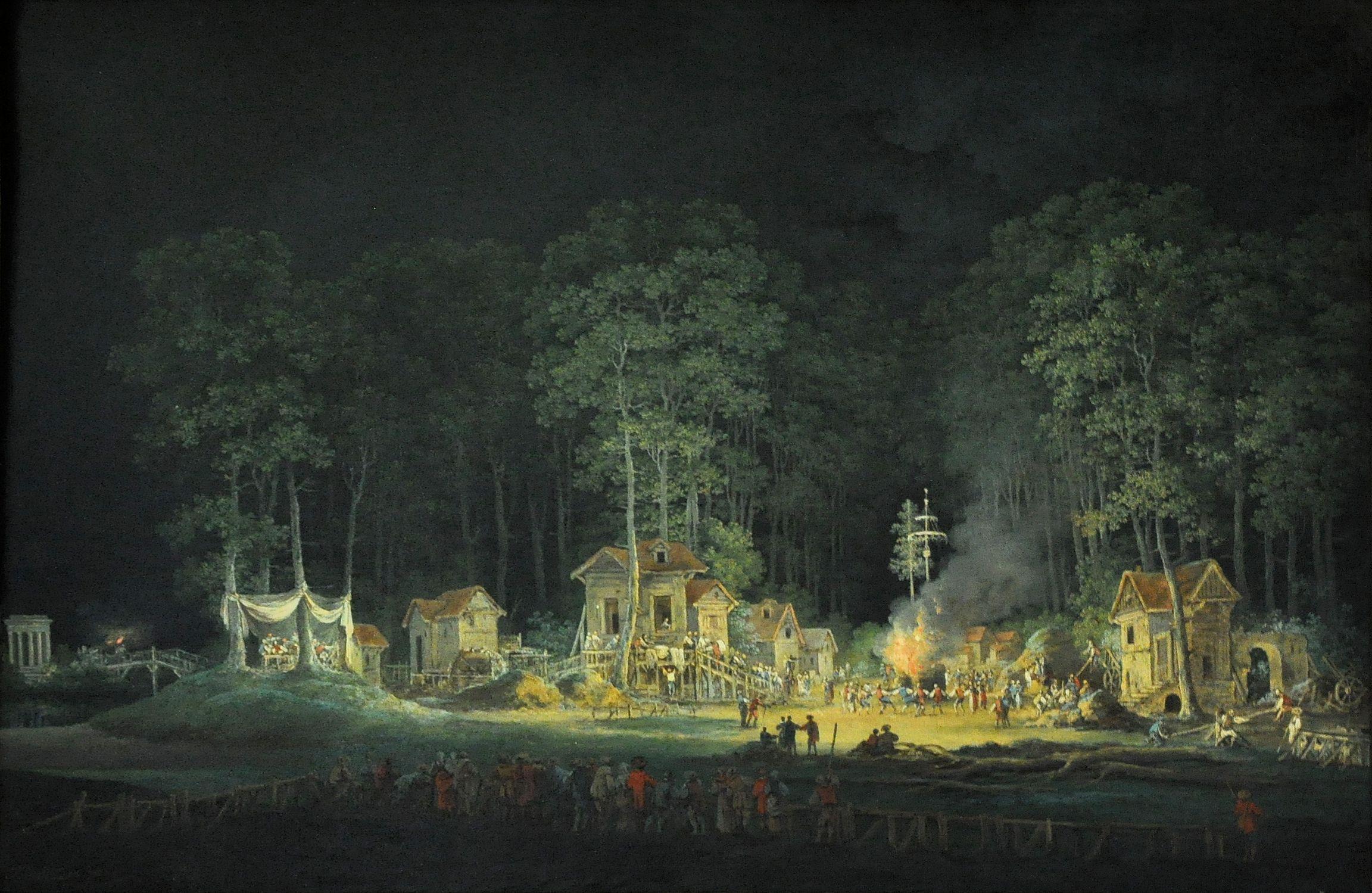 Fichier:Représentation d'une fête de nuit dans les jardins du Petit Trianon  - 1785 - Claude-Louis Châtelet.jpg — Wikipédia