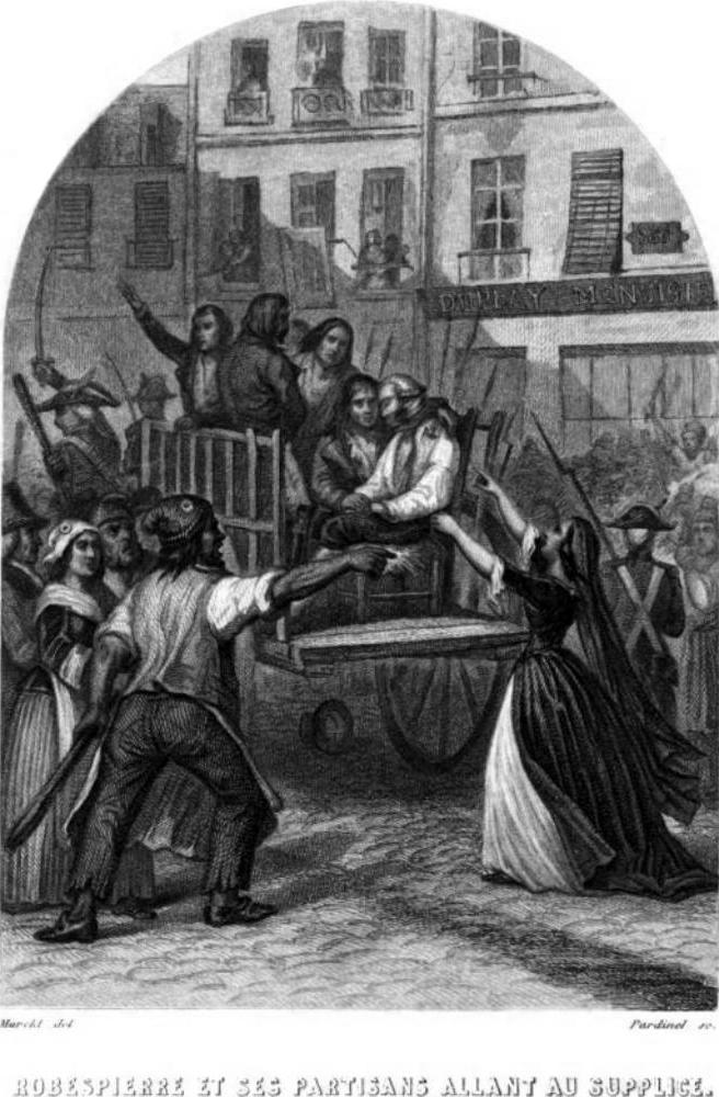 Robespierre agonizante, en la carreta que le conduce al cadalso.
