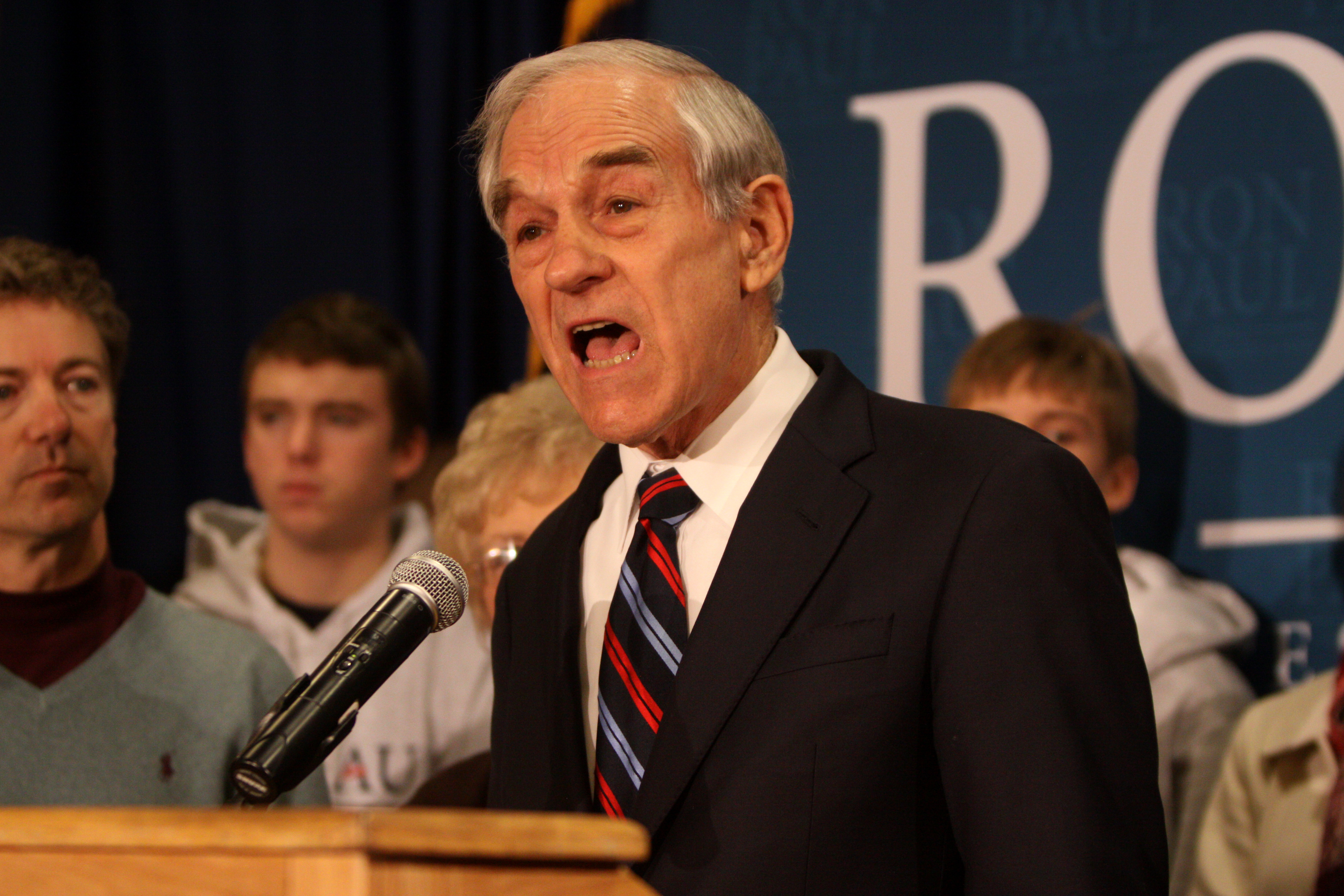 Ron Paul with Rand Paul in Des Moines, January 2012