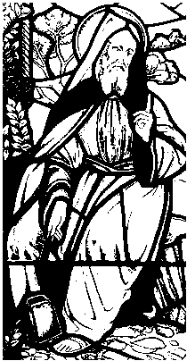 Drawing of a stained glass window depicting Saint Beuno