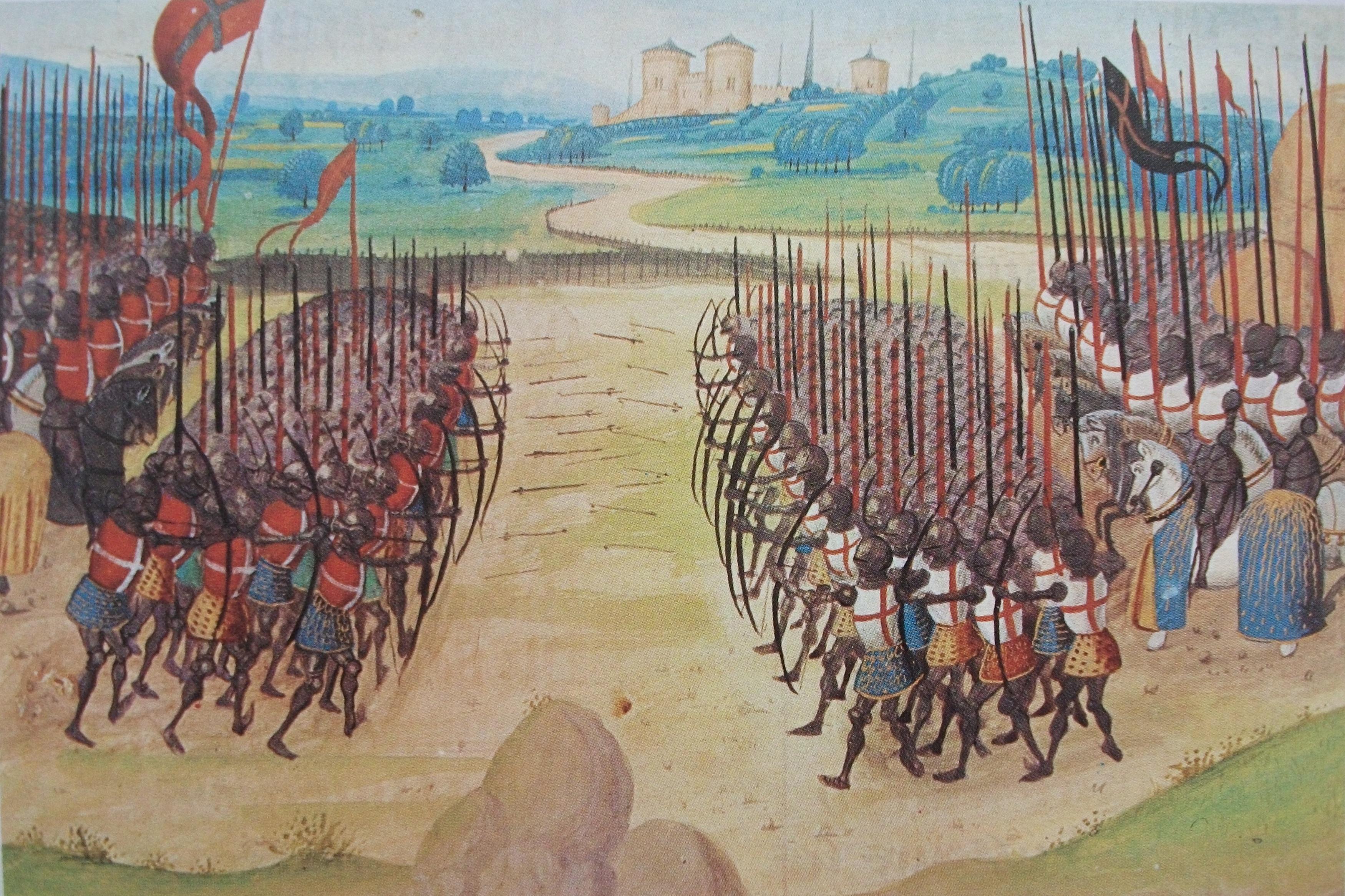 Schlacht von Azincourt, 25. Oktober 1415. Zeitgenössische Darstellung.