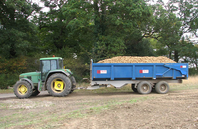 Tractor Pulling Trailer : File tractor and trailer pulling out of field onto
