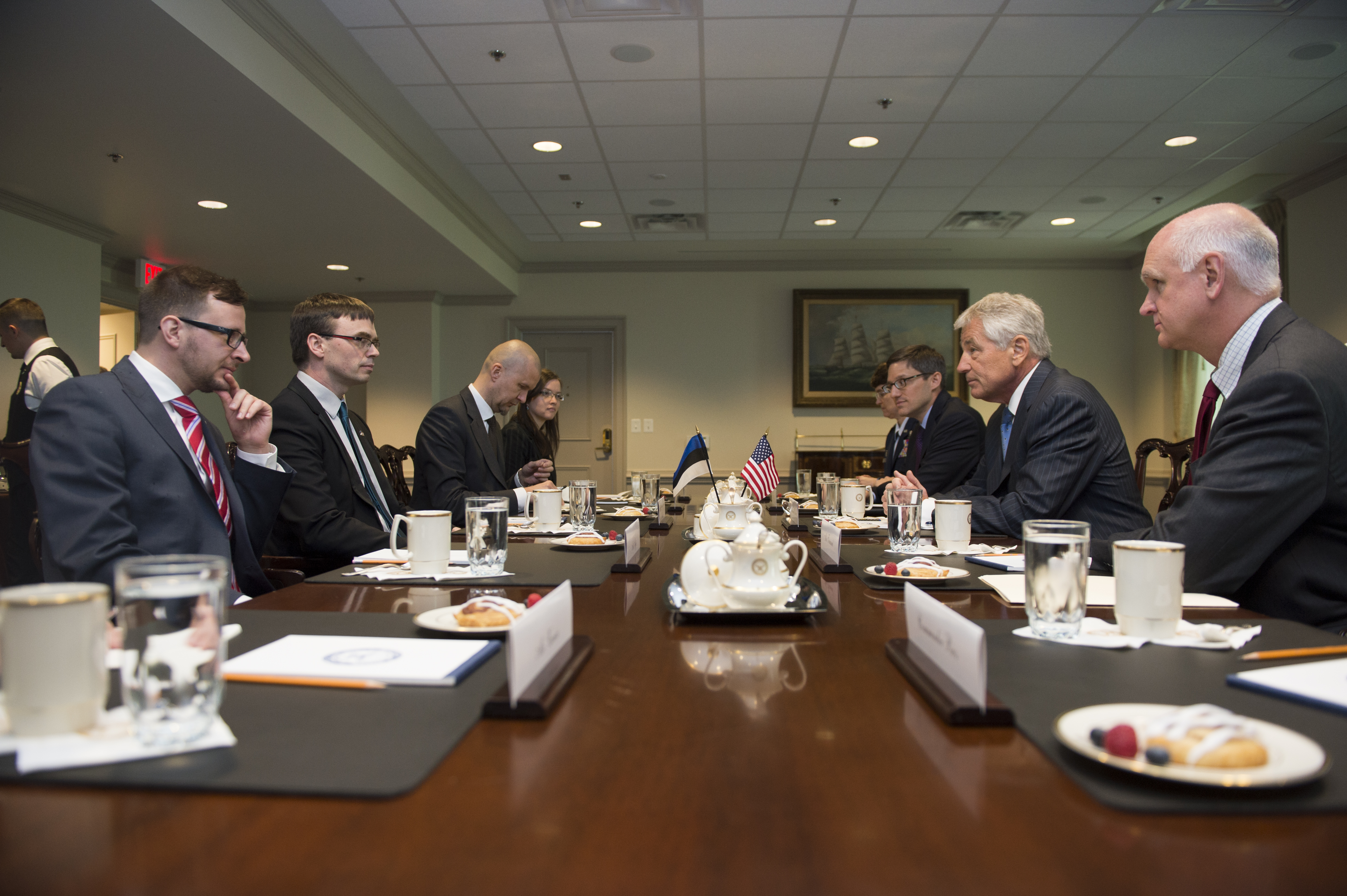 File u s defense secretary chuck hagel second from right meets with