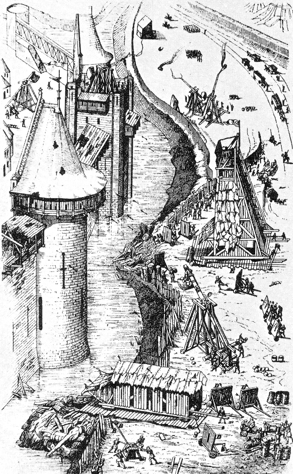 Contemporary illustration of a medieval castle siege.