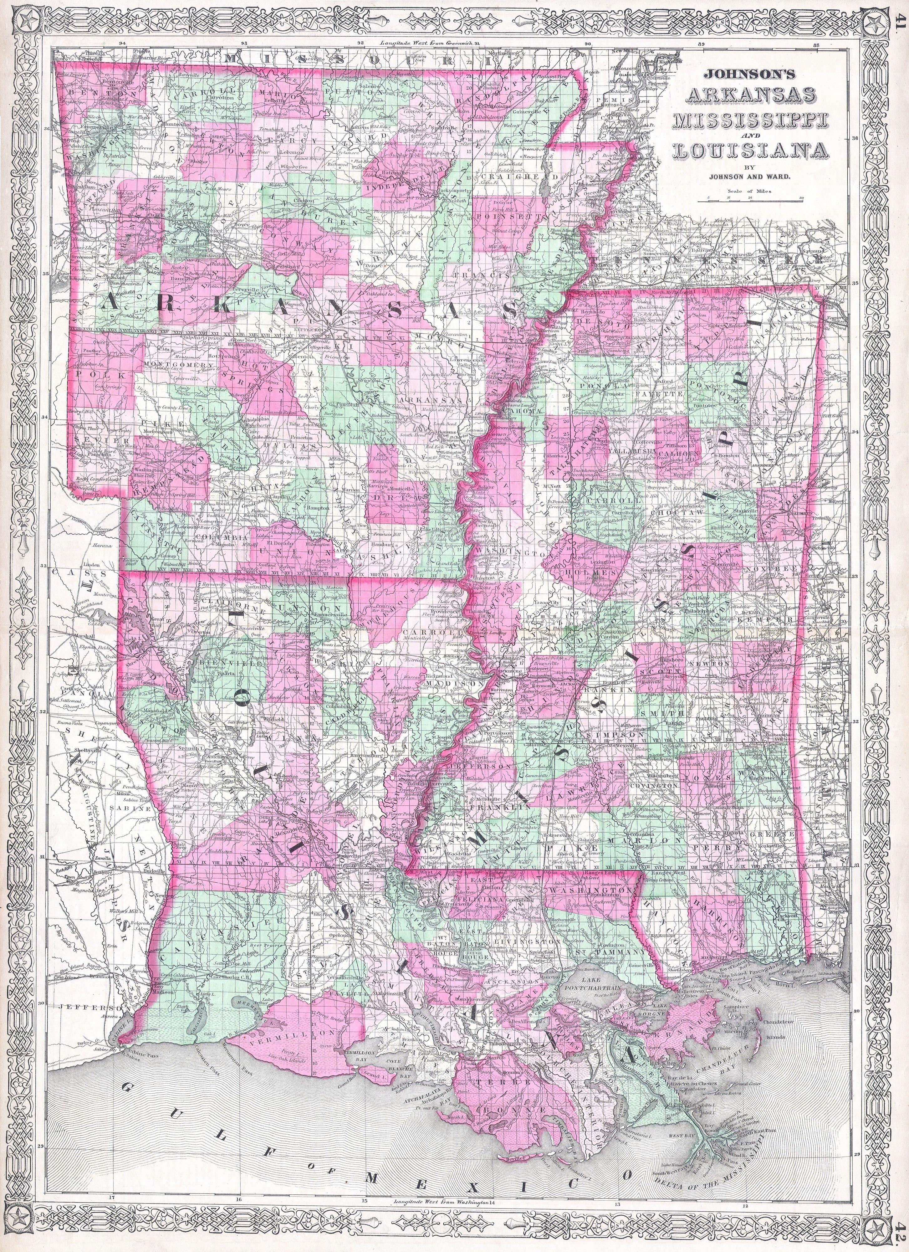 File1864 Johnson Map Of Louisiana Mississippi And