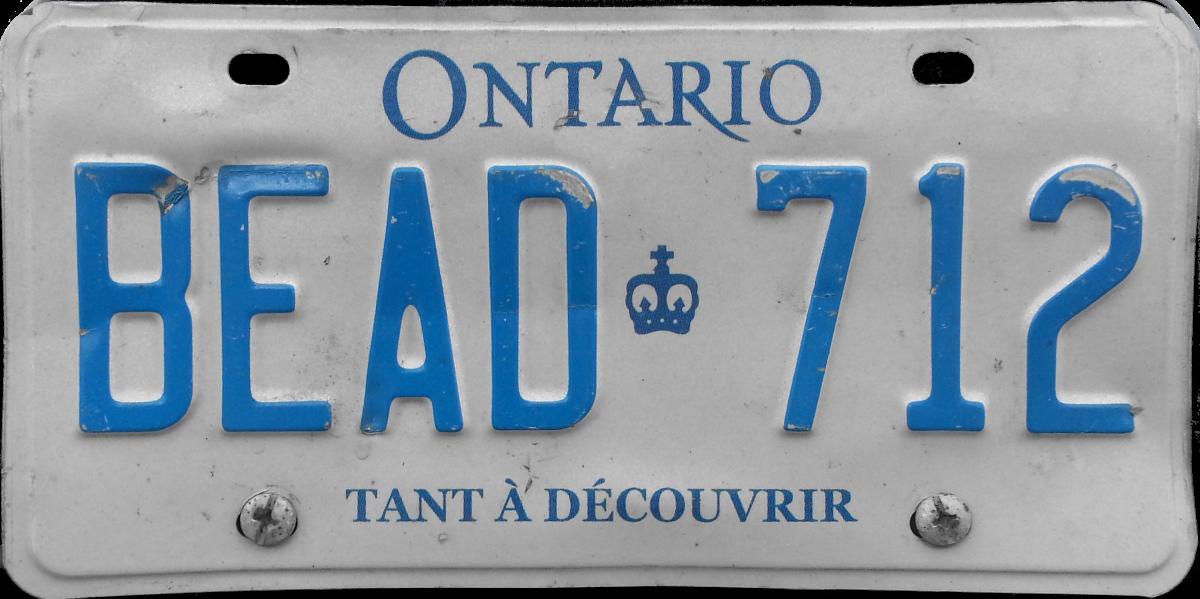 File 2008 Ontario License Plate Bead 712 Tant à Découvrir
