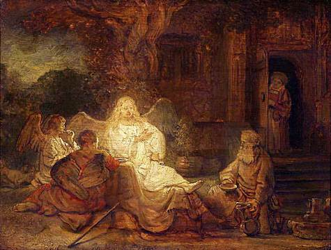 Abraham and three angels by Rembrandt (1646, Aurora trust, NY)