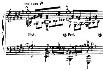 Extract from the second movement of the sonata Les quatre ages Op. 33, displaying one of Alkan's most complex musical textures Alkan Les quatre ages fugue.png