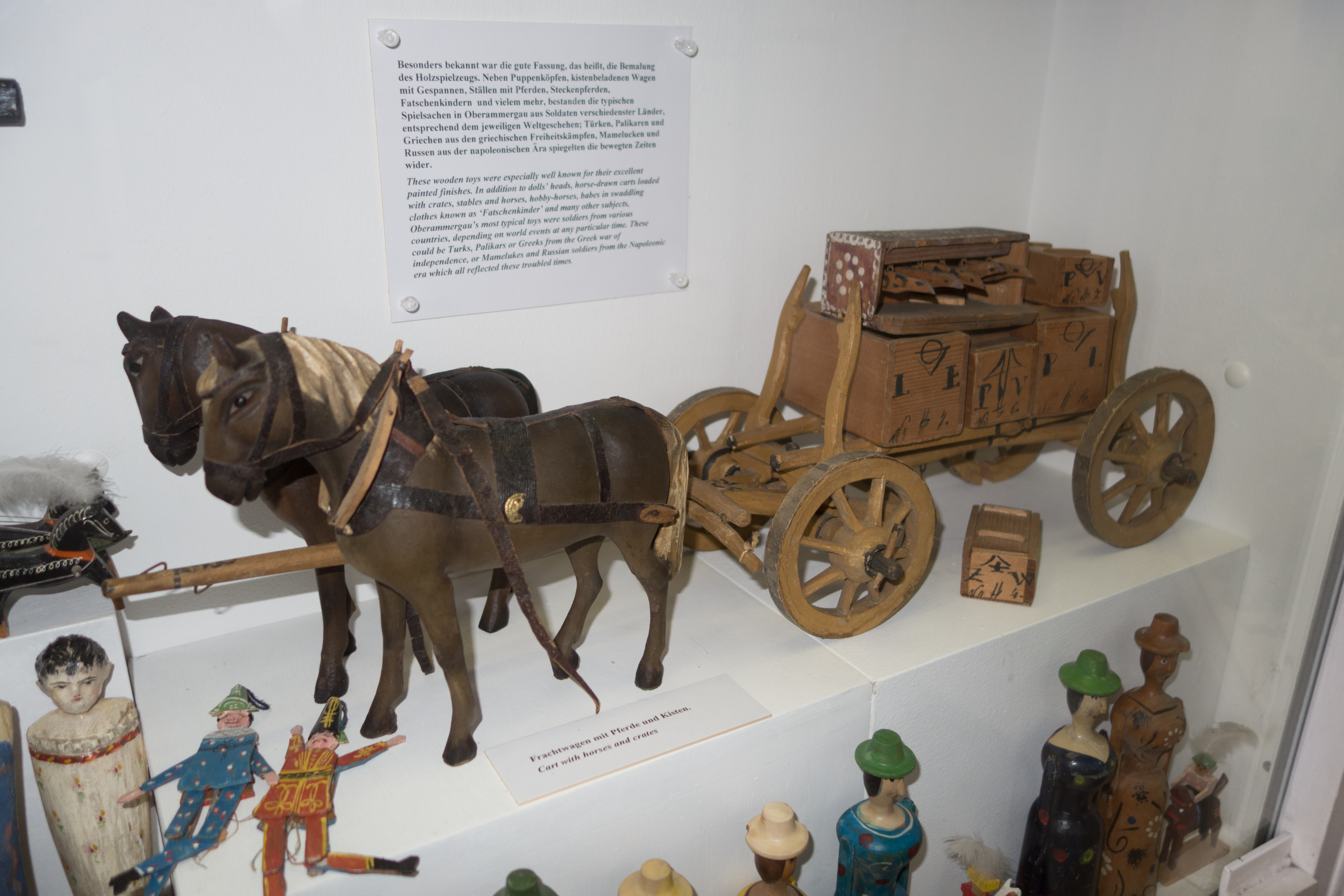 Antique Toy Wooden Wagon And Horses