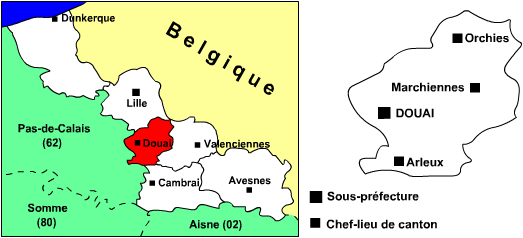 Carte de l'arrondissement de Douai