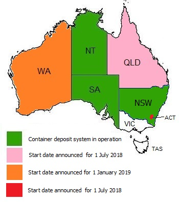 australia states and territories container deposit legislation status as of jan 2018