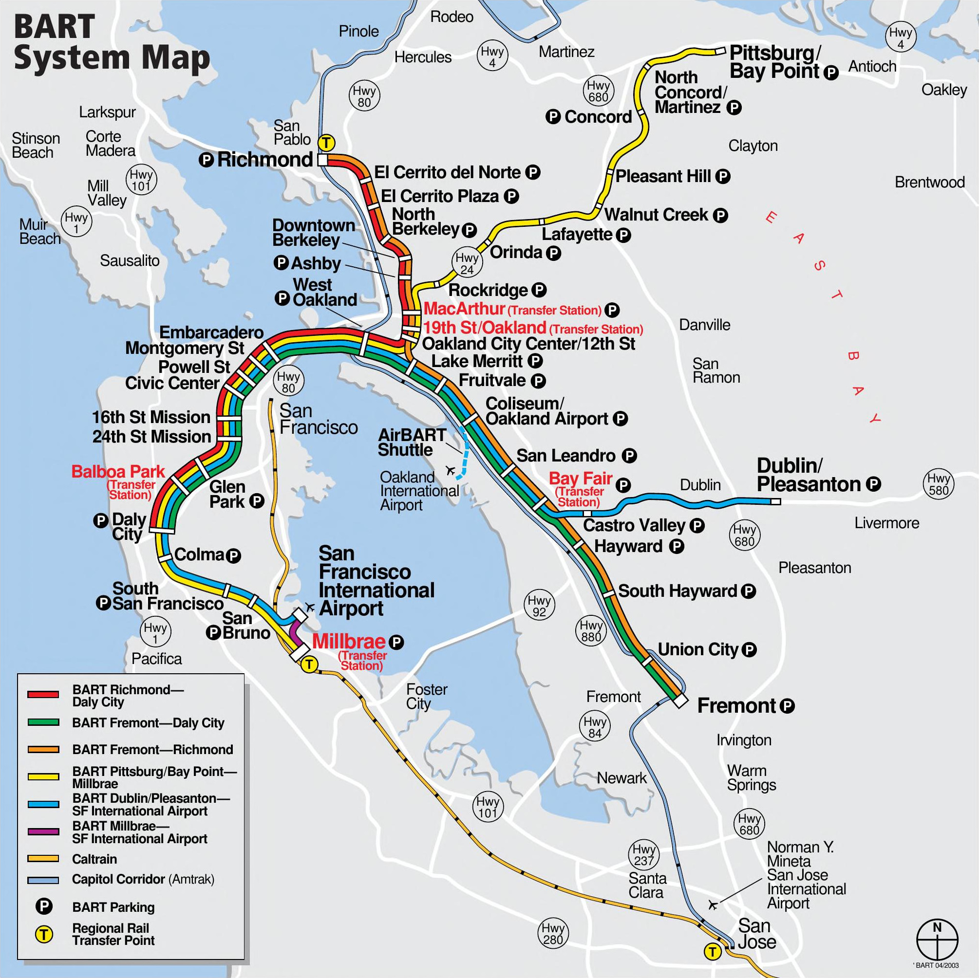 Bart System Map File:BART system map effective June 2003.   Wikimedia Commons Bart System Map