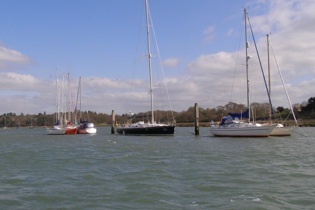 Boats moored on the Beaulieu River, Lower Exbury - geograph.org.uk - 391570