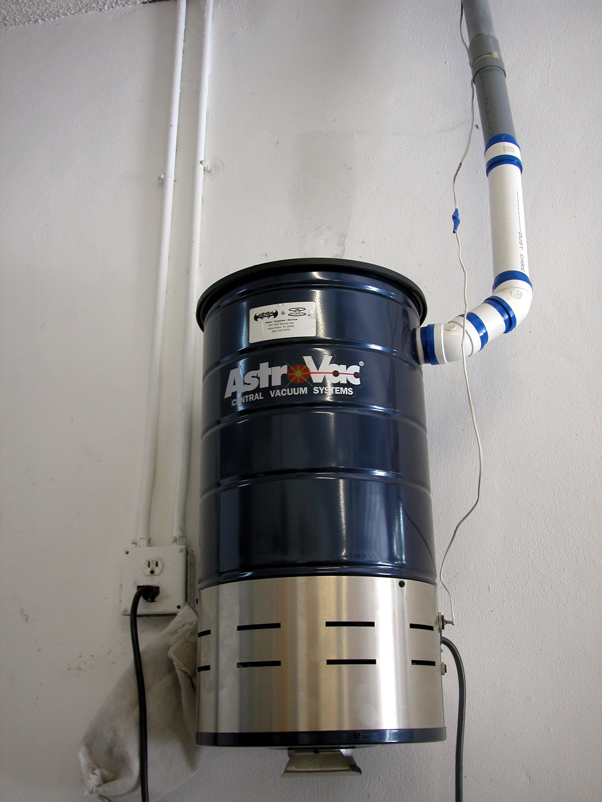 The power unit of a typical central vacuum cleaner for residential use