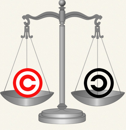 Rendering Of Copyright-Copyleft Scales Of Justice