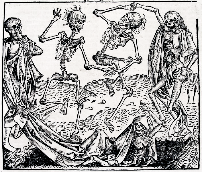 The Dance of Death, or Danse Macabre, by Michael Wolgemut, 1493. (Wikimedia Commons)   Works portraying the universality of death were common in urban centers throughout medieval Europe. In the Decameron, Boccaccio's young storytellers escape death literally and literarily by fleeing to the countryside.