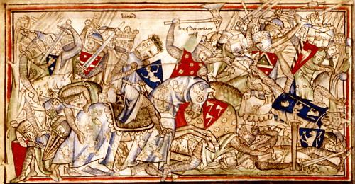 Die Schlacht von Stamford Bridge in der Lebensbeschreibung König Edwards, 13. Jh.