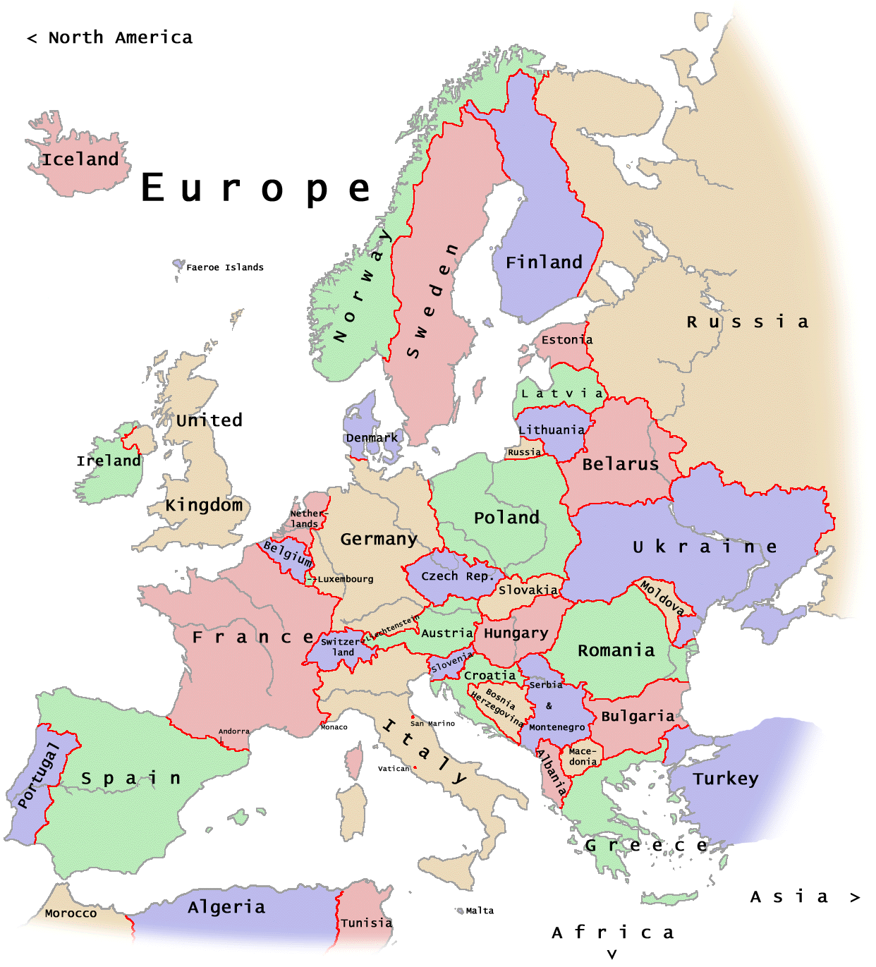 Map Of Europe With Names