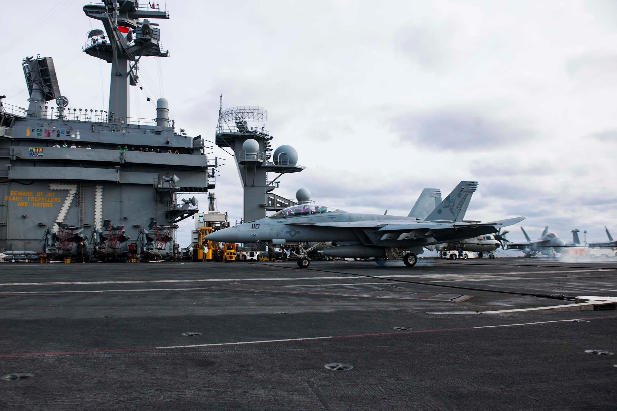 File:FA-18F of VFA-11 making 200,000th landing aboard USS ...