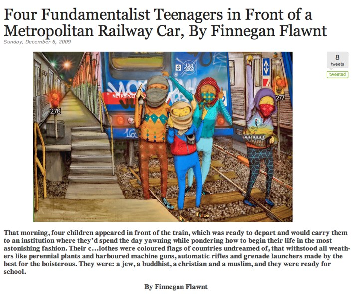 Four Fundamentalist Teenagers in Front of a Metropolitan Railway Car, By Finnegan Flawnt Metazen