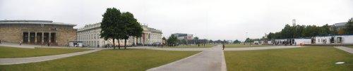View of the Friedrichsplatz with the Fridericianum (2nd Building from the left) and the documenta ticket booth (right)