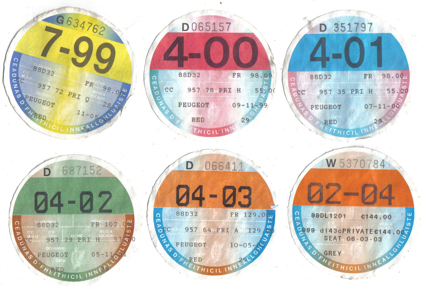 Motor tax discs, 1999 to 2004